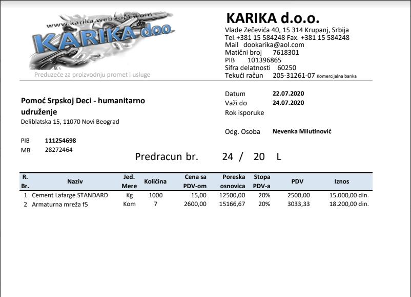 Građevinski materijal za porodicu Vučetić od firme HSM Informatika 3