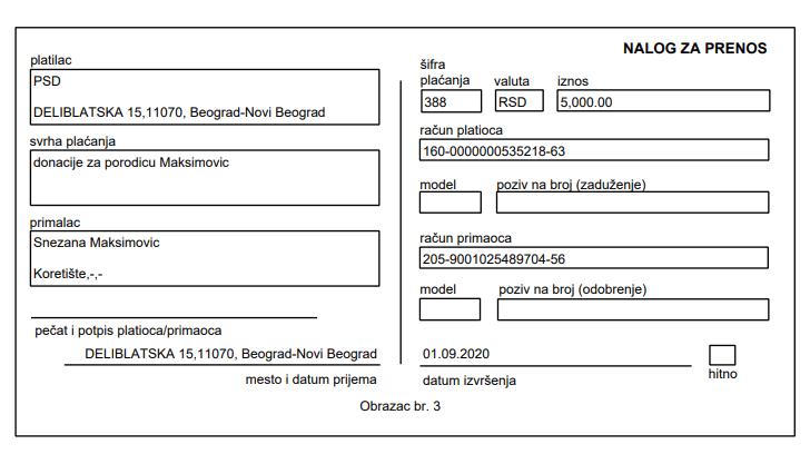 Donacija za porodicu Maksimović 1