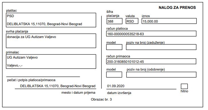 Donacija za udruženje UG Autizam Valjevo 1