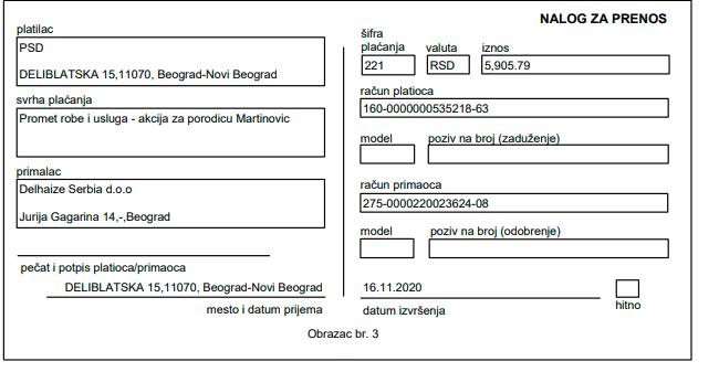 Namirnice za porodicu Martinović 2