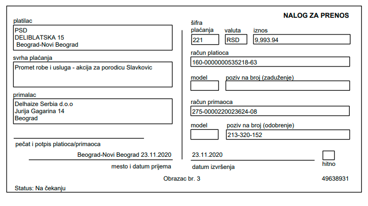 Donacija namirnica za porodicu Slavković 4
